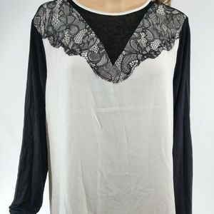 Metaphor NWT XL White Black Long Sleeve Lace Top